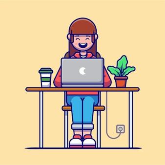 Garota trabalhando no personagem de desenho animado do laptop. tecnologia de pessoas isolada.