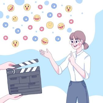 Garota transmitindo ao vivo a ilustração dos desenhos animados