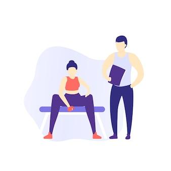 Garota treinando bíceps, treino de braço na academia com personal trainer