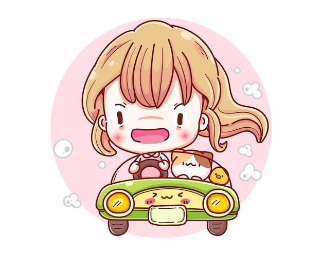 Garota treinando para dirigir e desenho de personagens de desenhos animados.