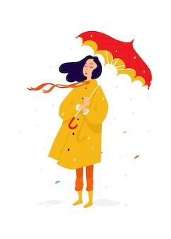 Garota triste em uma capa de chuva amarela.