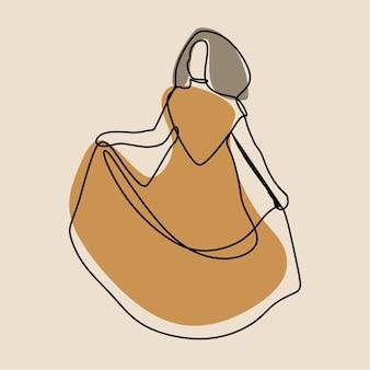 Garota usando vestido online de arte em linha contínua