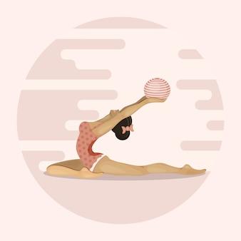 Garota vai para esportes com bola de ginástica. estilo de vida saudável, casa ou sala de ginástica. ilustração.