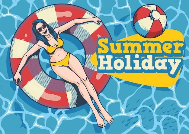 Garota verão com flutuador na piscina
