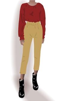 Garota vestida com sapatos pretos, calça amarela e blusa vermelha posando