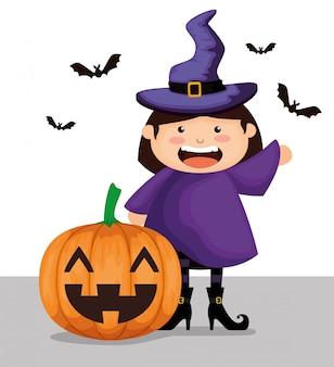 Garota vestida como uma bruxa no dia das bruxas