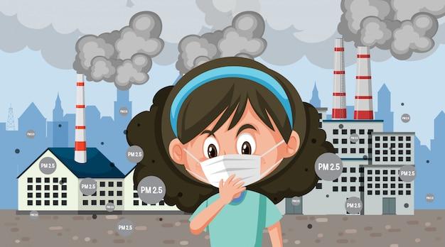 Garota vestindo máscara na frente da fábrica cheia de fumaça