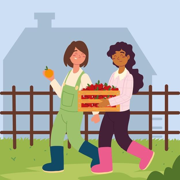 Garotas agricultoras carregando frutas