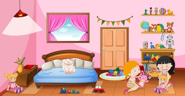Garotas bonitas brincando com seus brinquedos na cena do quarto rosa