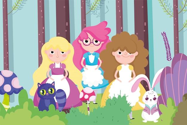 Garotas bonitas coelho floresta de gato, personagem de crianças