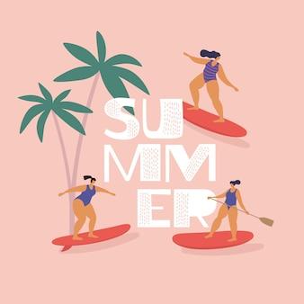 Garotas bonitas em trajes de banho montam surf e sup-surf. descanse no verão no mar tropical. tipos modernos de atividades aquáticas. ilustração em estilo simples, em fundo isolado.