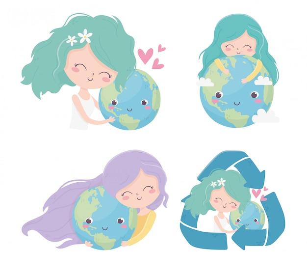 Garotas bonitas mundo reciclar amor corações ambiente ecologia