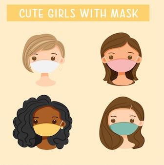 Garotas bonitas vestindo máscara dos desenhos animados