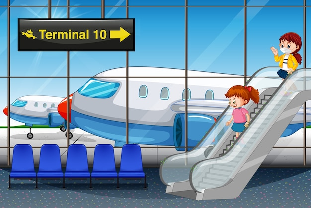 Garotas chegando no aeroporto