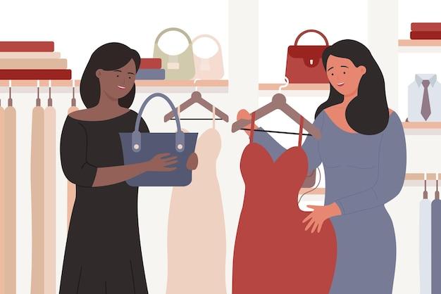 Garotas comprando amigas juntas em pé com compras comprando vestido e bolsa