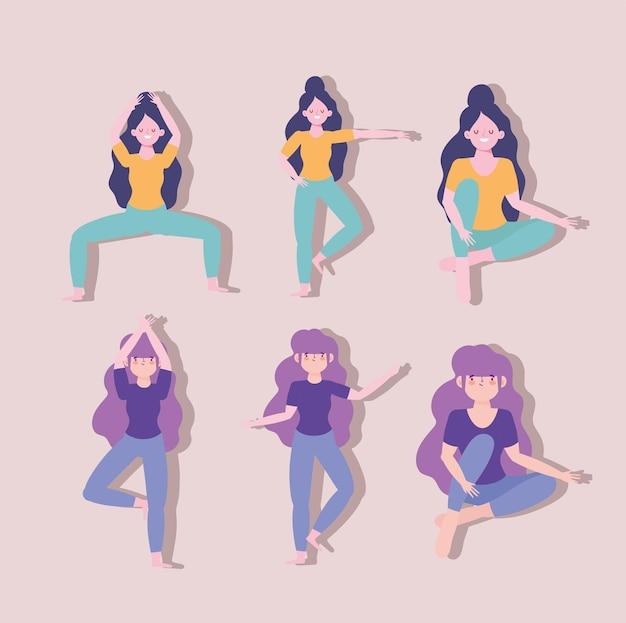 Garotas fazendo ioga