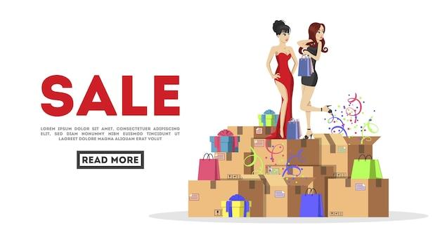 Garotas lindas, lindas garotas de vestido. embalagem do produto. caixas de papelão com confete.