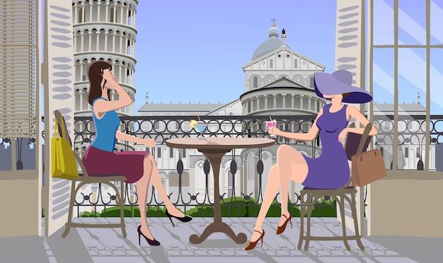 Garotas no terraço tomando café em uma ilustração de uma cidade italiana