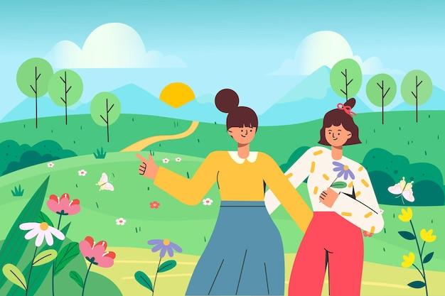 Garotas saindo para passear na primavera