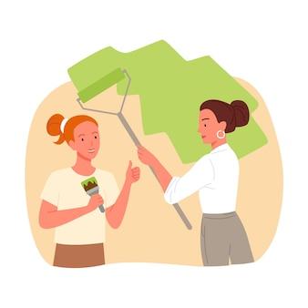 Garotas trabalhadoras pintando parede, serviço de conserto, jovem segurando um pincel e um rolo de pintura