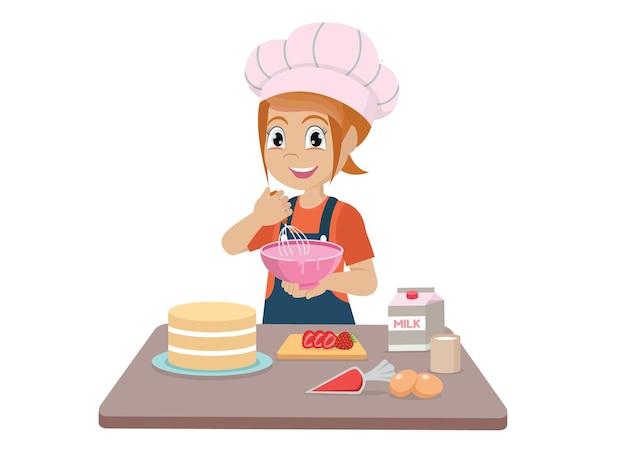 Garotinha cozinhando um bolo