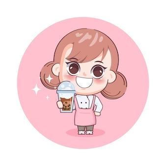 Garotinha feliz e fofa barista servindo chá com leite com bolhas de ar ilustração dos desenhos animados