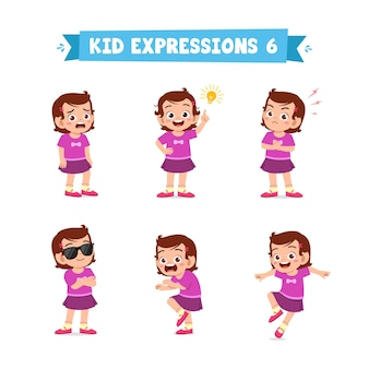 Garotinha fofa em várias expressões e conjunto de gestos