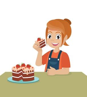 Garotinha menina come um bolo