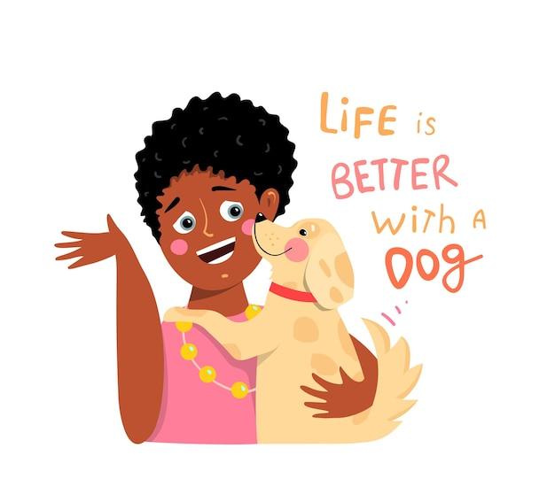 Garotinha negra e cachorro se abraçando, gráficos de desenhos animados planos de melhores amigos com sinal de letras de mão desenhada.