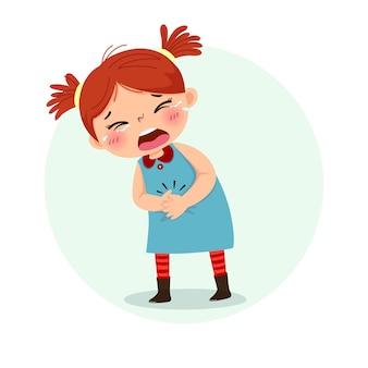 Garotinha sofrendo de dor de estômago