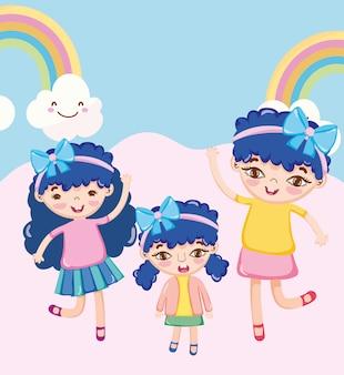 Garotinhas felizes e fofas com fita na cabeça comemorando a ilustração do arco-íris