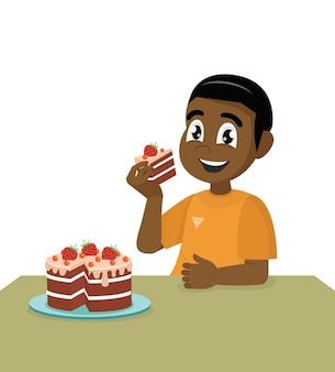 Garotinho africano comendo um bolo de aniversário