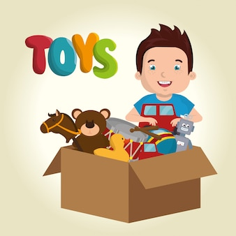 Garotinho brincando com caráter de brinquedos