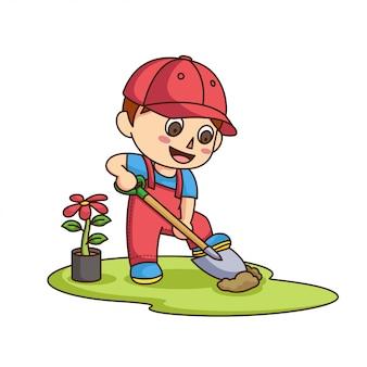 Garotinho, cavando o chão para plantar flores