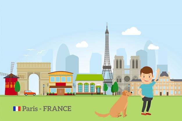 Garotinho com cachorro em paris