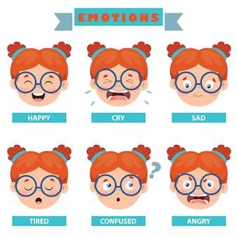 Garotinho com emoções diferentes