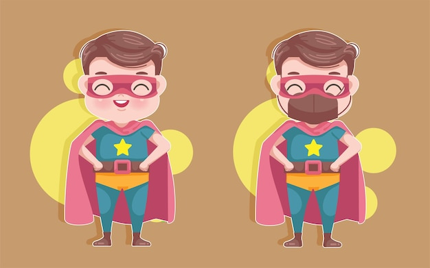 Garotinho com fantasia de super-herói. máscara de menino bonito dos desenhos animados covid-19 impedir o conceito.