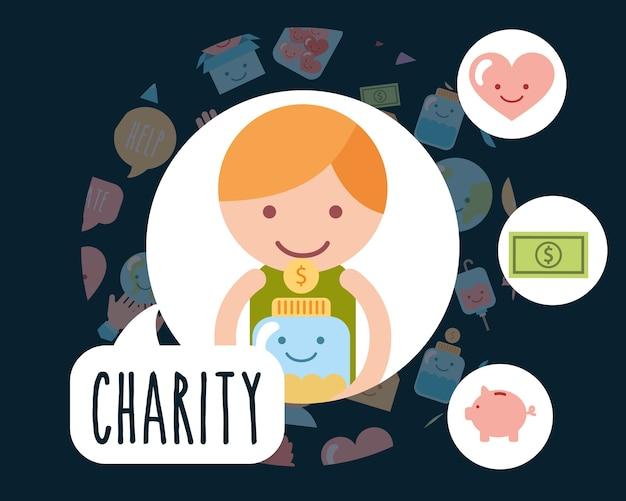 Garotinho com moedas de vidro jar caridade porqu