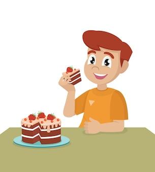 Garotinho come um bolo de aniversário