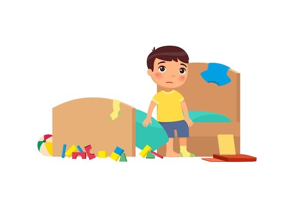 Garotinho em um apartamento sujo, personagem de desenho animado