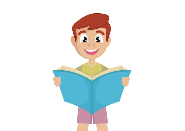 Garotinho está lendo um livro tão grande