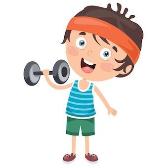 Garotinho fazendo exercício de levantamento de peso