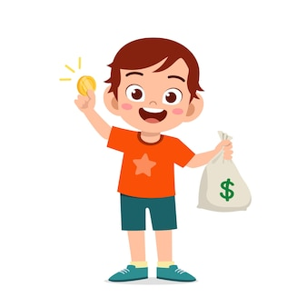 Garotinho fofo carregando uma sacola de dinheiro e moedas