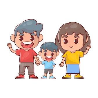 Garotinho fofo com mamãe e papai juntos Vetor Premium