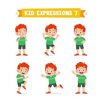 Garotinho fofo em várias expressões e conjunto de gestos