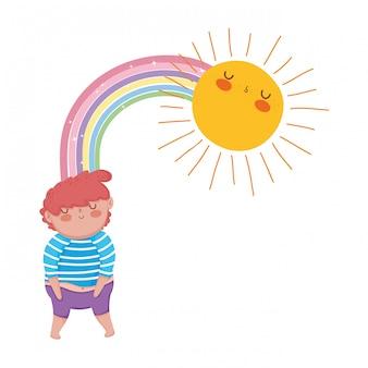 Garotinho gordinho com arco-íris