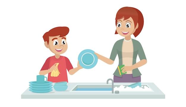 Garotinho lavando louça com a mãe