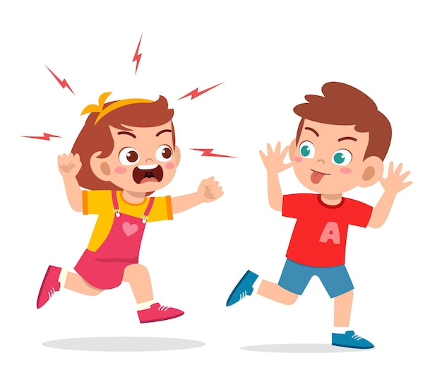 Garotinho malvado corre e mostra uma careta para um amigo zangado.