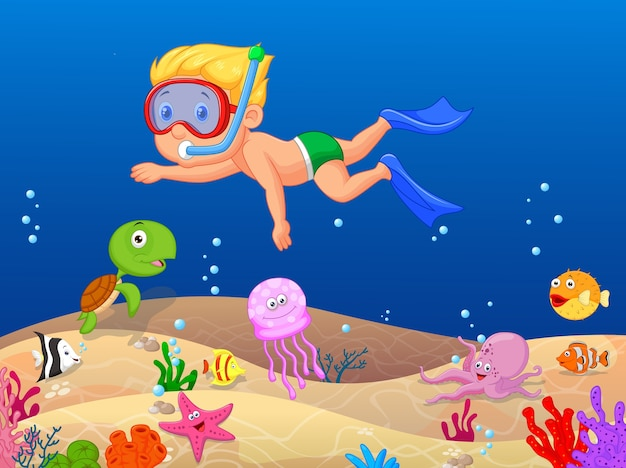 Garotinho, mergulho no oceano