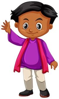Garotinho na camisa roxa acenando a mão